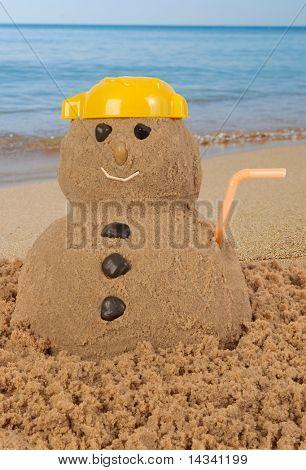 Snowman having holidays