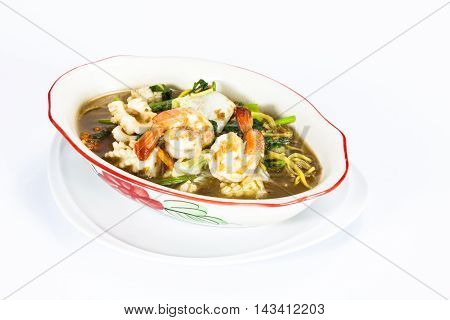 crispy yellow noodle with in a creamy gravy sauce : chinese and thai style food. in thai language call is