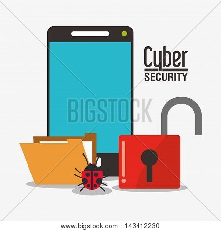 padlock smartphone file bug cyber security system technology icon. Flat design. Vector illustration