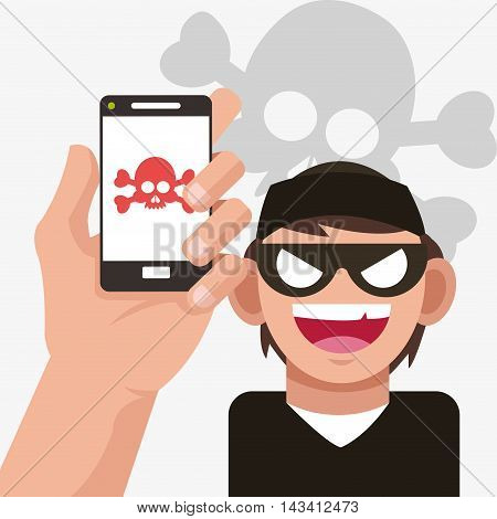 smartphone hacker skull cyber security system technology icon. Flat design. Vector illustration