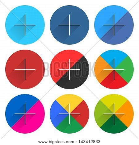 9 popular social network web icon set with plus adding sign long shadow. Circle button on white background. New simple flat clean plain tidy solid style. Vector illustration design element 10 eps