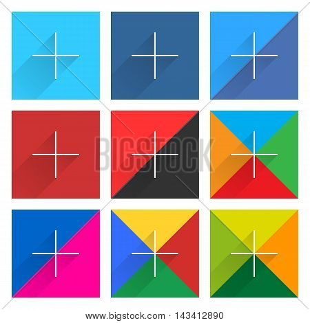 9 popular social network web icon set with plus adding sign long shadow. Square button on white background. New simple flat clean plain tidy solid style. Vector illustration design element 10 eps