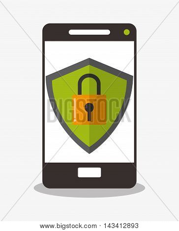 padlock smartphone cyber security system technology icon. Flat design. Vector illustration
