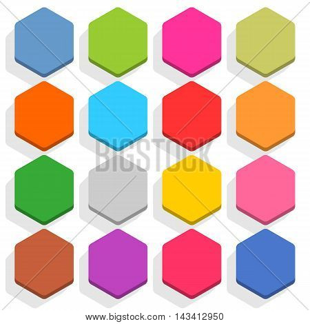 16 blank icon in flat style. Hexagon 3D button with shadow on white background. Blue red yellow gray green pink orange brown violet colors. Vector illustration web design element in 8 eps