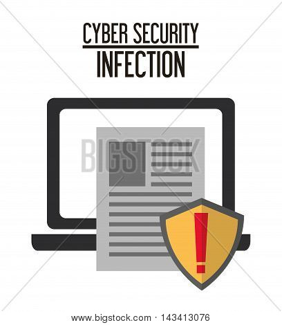 laptop document shield cyber security system technology icon. Flat design. Vector illustration