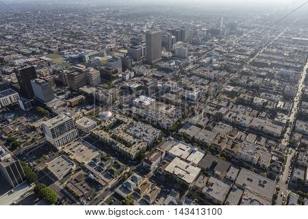 Los Angeles, California, USA - August 6, 2016:  Aerial view of summer afternoon smog over the Mid Wilshire and Korea Town neighborhoods.