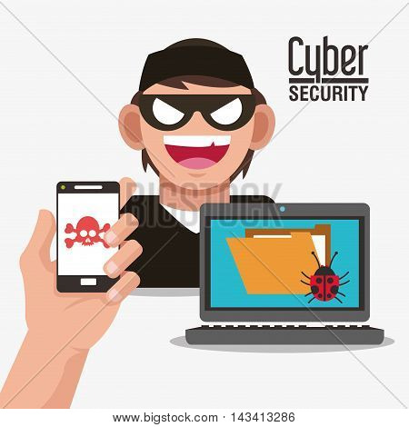 smartphone hacker skull file laptop cyber security system technology icon. Flat design. Vector illustration