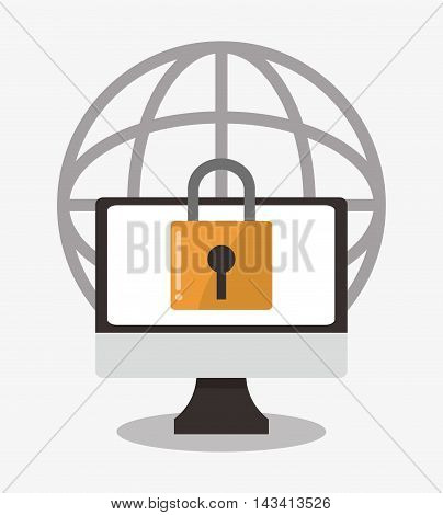 padlock computer cyber security system technology icon. Flat design. Vector illustration