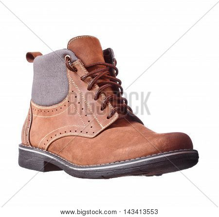Winter Brown Leather Men's Boots, Over White Background