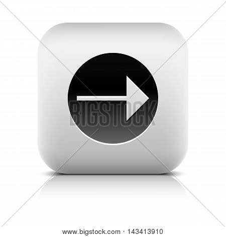 Web Icon with arrow sign in black circle. Rounded square internet button with shadow and reflection on white background. Series in a stone style. Vector illustration design element in 8 eps