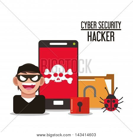 smartphone hacker skull file cyber security system technology icon. Flat design. Vector illustration