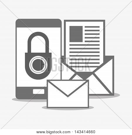 padlock smartphone envelope cyber security system technology icon. Flat and silhouette design. Vector illustration