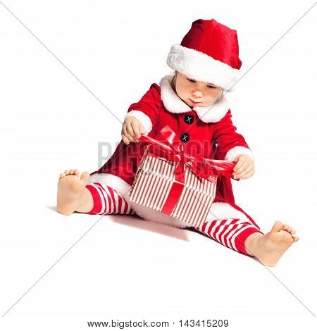 Baby in Santa Hat Open Christmas Gift Box on White Background