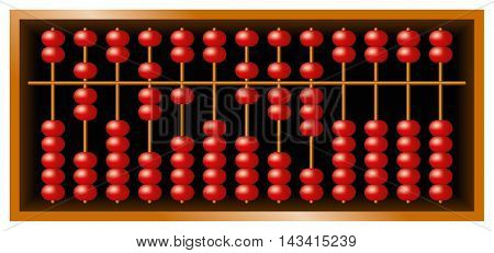 Suanpan Chinese abacus, also Suan Pan and souanpan. Counting frame and calculating tool with red beads sliding on wires in a wooden box. It is still used today, despite pocket electronic calculators.