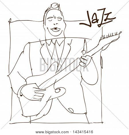 Retro jazz music concept guitar man sketch old school vector illustration for advertising posters and cover Jazz Festival