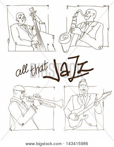 Retro jazz music concept jazz band sketch old school vector illustration for advertising posters and cover Jazz Festival