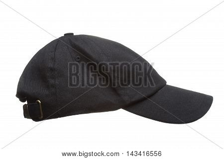 Black Working Peaked Cap. Side View. Isolated On A White Backgro