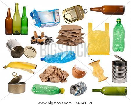 Trash samples isolated on white