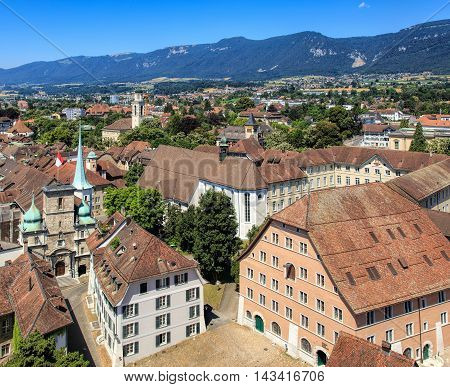 Solothurn, Switzerland - 10 July, 2016: view on the city from the tower of the St. Ursus Cathedral. The city of Solothurn is the capital of the Swiss Canton of Solothurn and is also the only municipality of the district of the same name.