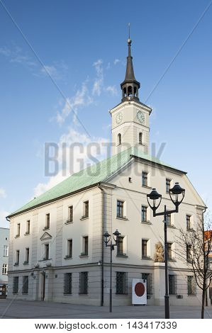 Poland Upper Silesia Gliwice sunlit town hall at market square