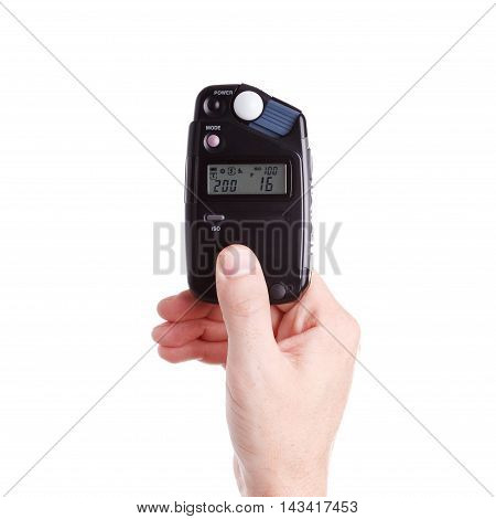 Flash Meter In Hand On White Background