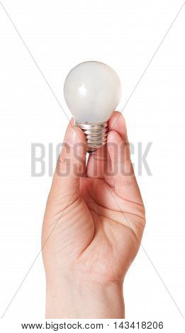 Energy consumption and energy saving topic: human hand holding a light bulb on a white background in studio.