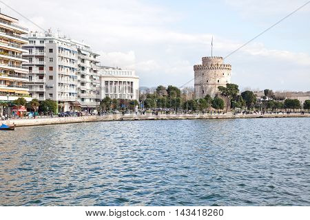 THESSALONIKI GREECE - March 17.2016: View on the embankment of city from the side of the Aegean Sea. White tower