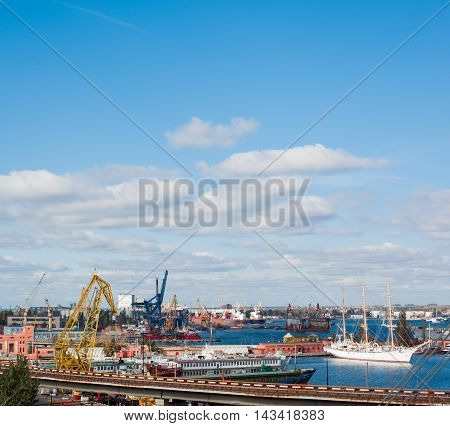 View On The Port With Loading Cargo Ship