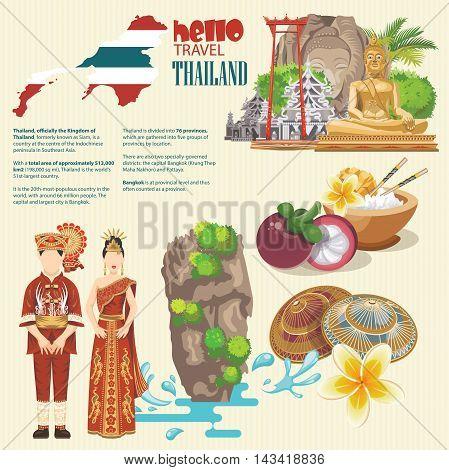 Travel Concept Thailand Landmark Design .Vector Illustration