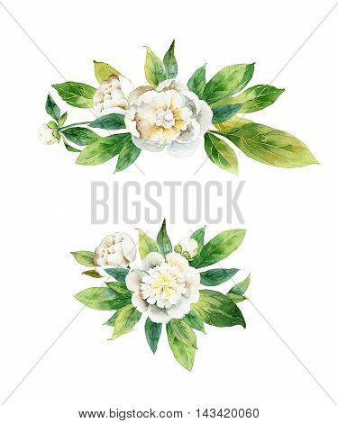 Set boutonnieres with peony isolated on white background. Watercolor illustration