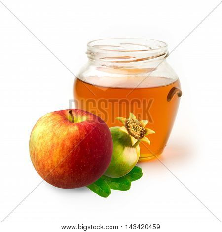 Honey apple and pomegranate on white background