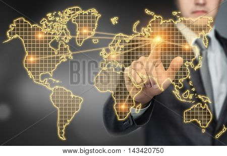 Businessman touching the digital touchscreen with world map with his finger. Innovative technology. Business presentation. Succesful management. Global communication. International business.
