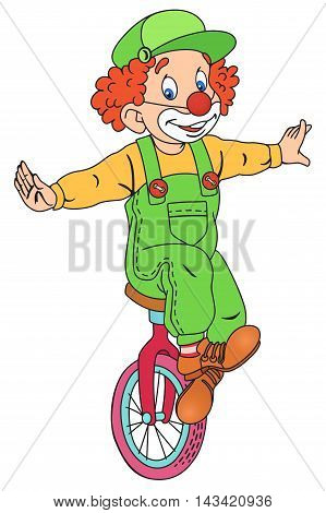 Illustration of Cute Circus Clown on Unicycle