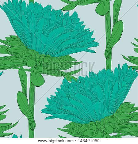 Beautiful seamless background with blue flowers aster. Hand-drawn contour lines and strokes.