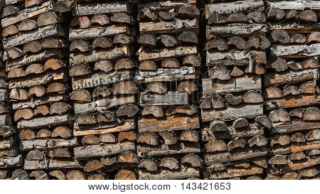 dry chopped firewood logs ready for winter Background of dry chopped firewood logs in a pile
