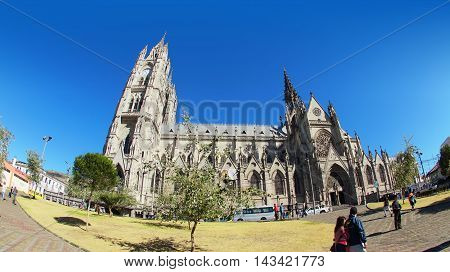 Quito, Pichincha / Ecuador - August 20 2016: Wide view of the Basilica of the National Vow is located in the historic center of Quito. It is the largest neo-Gothic basilica in the Americas