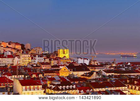 Lisbon skyline in the beautiful twilight. Portugal