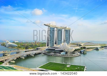 SINGAPORE - MARCH 08 2013: Marina Bay Sands Resort in Singapore. It is billed as the world's most expensive standalone casino property at S$8 billion