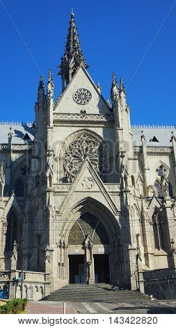 Quito, Pichincha / Ecuador - August 20 2016: Gateway of the Basilica of the National Vow is located in the historic center of Quito. It is the largest neo-Gothic basilica in the Americas