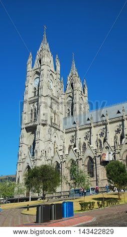 Quito, Pichincha / Ecuador - August 20 2016: View of the Basilica of the National Vow is located in the historic center of Quito. It is the largest neo-Gothic basilica in the Americas