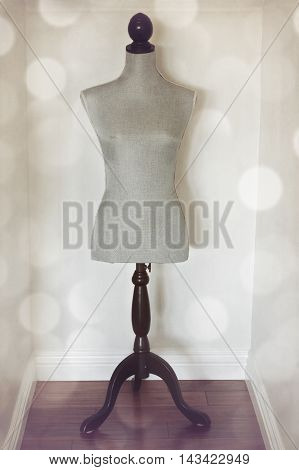 Vintage mannequin with retro background with filter effect