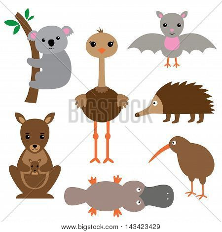 Australian animals set, isolated cartoon illustrations (koala, kangaroo, emu, kiwi, bat)