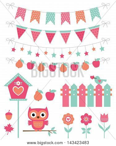 Cute pink nature decoration set, an owls and bunting