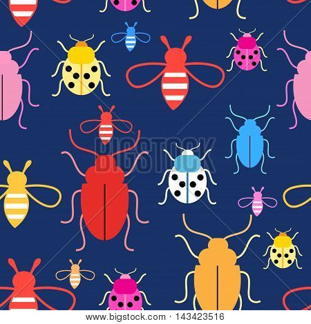 Bright colorful graphics vector pattern with insects on a dark background