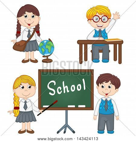 set of isolated school children  - vector illustration, eps