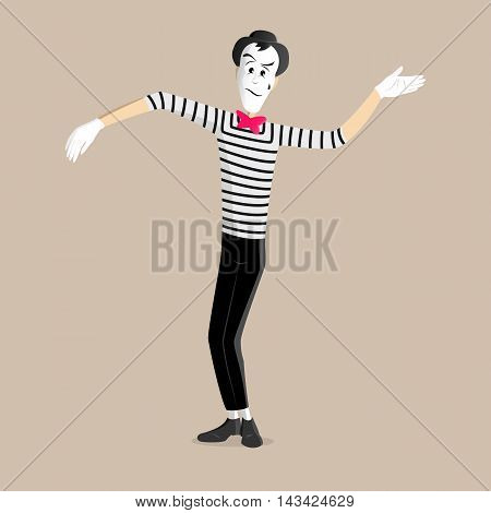 A Mime performing a pantomime called waving