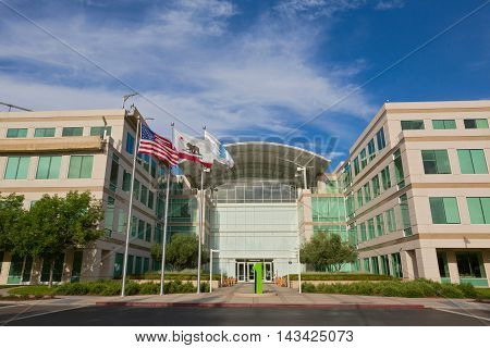 CUPERTINO CA/USA - JULY 14: The Apple world headquarters located in Cupertino on July 14 2014. Apple is a multinational corporation that produces consumer electronics personal computers and software