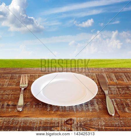 Plate with knife and fork over green meadow