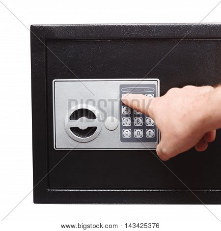 Man Hand Opened A Safe, Close Up
