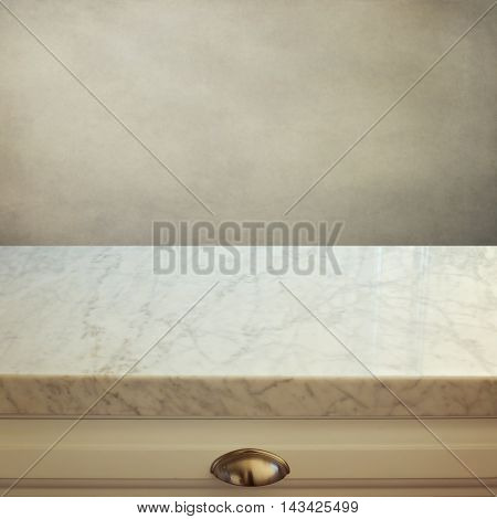 Light grey marble stone kitchen counter over grunge background